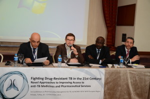 (left to right) Dr. Raed Arafat, Chair of the Conference, Secretary of State, Ministry of Health of Romania; Dr. Martin van den Boom, TB Program Focal Officer, WHO Regional Office for Europe; Francis (Kofi) Aboagye-Nyame, Director, SIAPS Program; and Dr. Joel Keravec, Head of Operations, Global Drug Facility, Stop TB Partnership.  [Photo credit: Durmuş Şahin]