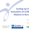 Scaling Up Integrated Community Case Management in Burundi