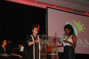 Student Zinzi Sitshebo receives Best First-Year Pharmacy Student award for 2014 during the meritorious award ceremony of the University of Namibia on April 22, 2015.