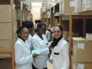 Students from Nelson Mandela Metropolitan University's Pharmacy Technical Assistant Program visit Dora Nginza Hospital and observe how medicines are stored.  Credit: L. Mabuya, SIAPS.