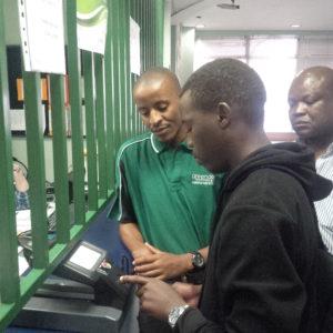 The biometric scanner recognizes a patient's fingerprint at a Tshwane clinic.